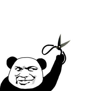 教皇熊猫头手持剪刀-表情包原图-表情包模板