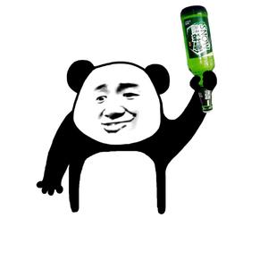 张学友熊猫头手持啤酒瓶 - 表情包在线制作图片
