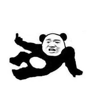 张学友熊猫头躺地竖中指-表情包原图-表情包模板