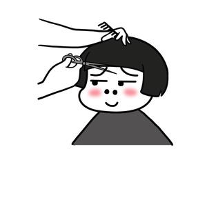 哩哩小怪蘑菇头剪头发-表情包原图-表情包模板
