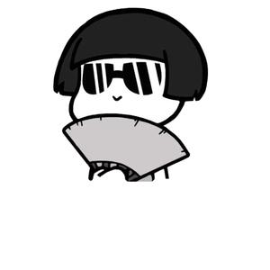蘑菇头戴墨镜手持扇子-表情包原图-表情包模板