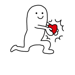 表情跑着手捧表情小人-红色在线制作德云色爱心包图片