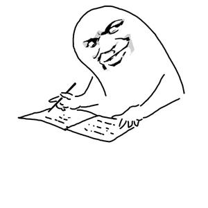 教皇拇指人小本子上写东西 - 表情包在线制作图片