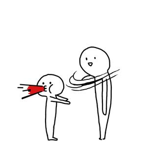 大人大耳巴子打小人吐血-表情包原图-表情包模板