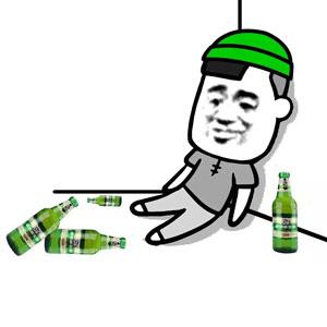 张学友戴绿帽坐墙角酒瓶-表情包原图-表情包模板